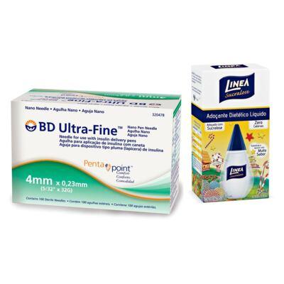 Imagem 1 do produto Agulha BD Ultrafine Pentepoint 4mm + Adoçante Linea