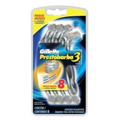 Aparelho de Barbear Gillette Prestobarba 3 C/ 8 Unidades
