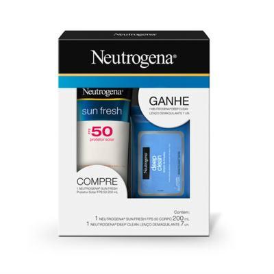Kit Neutrogena Sunfresh FPS50 200ml Grátis Wipes Johnson´s