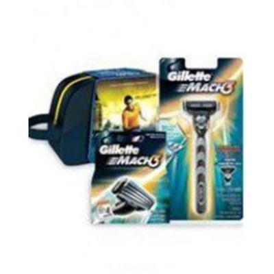 Kit Gillette Aparelho Mach 3 + Carga  4 Unidades Grátis Necessaire
