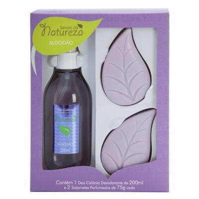 Kit Banho Seivas da Natureza Algodão Colônia Desodorante 200ml + 2 Sabonetes Perfumados 75g