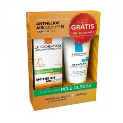 Kit La Roche-Posay Anthelios Airlicium FPS 70 com Cor 50g + Effacla Gel Concentrado 60g