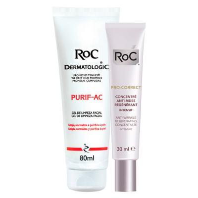 Kit Roc Pro-Correct Concentrado Intensivo 30ml + Gel de Limpeza Facial Purif-Ac 80g