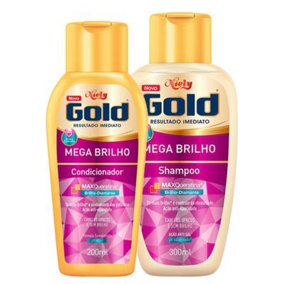 Kit Niely Gold Mega Brilho Shampoo 300ml + Condicionador 200ml