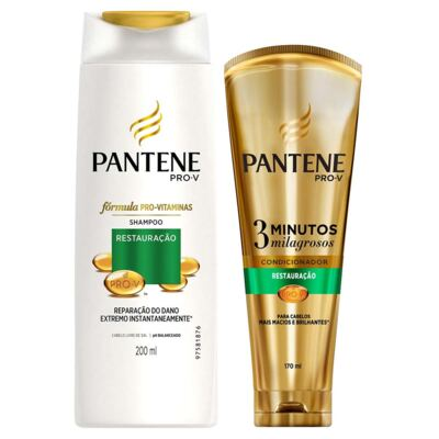 Kit Pantene Restauração Shampoo 200ml + Condicionador 3 Minutos Milagrosos 170ml