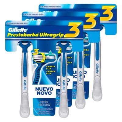 Imagem 1 do produto Kit 3 Aparelho de Barbear Gillette Prestobarba Ultragrip3 2 Unidades