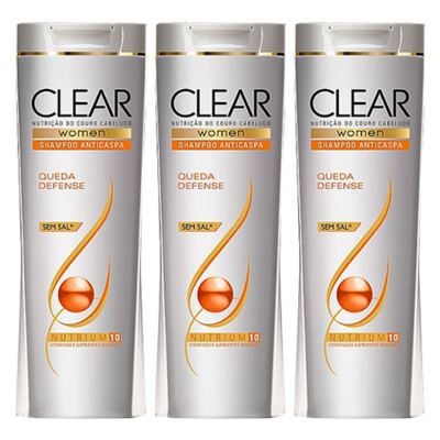 Kit 3 Shampoo Clear Queda Defense 200ml