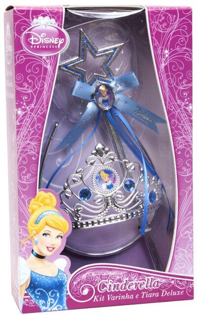 Acessórios Princesas Cinderella - Coroa e Varinha Deluxe - BR639