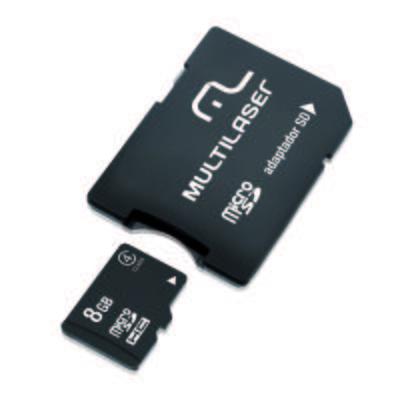 Kit Multilaser 2 X 1: Micros SD . Adaptador SD 8 GB Class 4 MC004