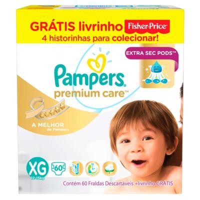 Fralda Pampers Premium Care - XG | 60 unidades | Grátis Livrinho