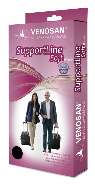 Meia Panturrilha Ad 18-22 Mmhg Supportline Soft Venosan - Preta P