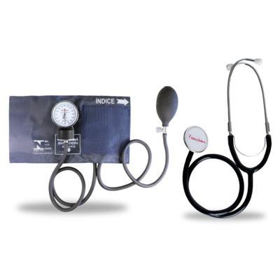 Kit Esteto Duplo com Aparelho de Pressão Azul Premium