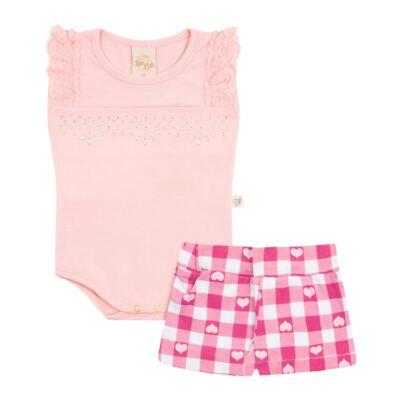 Body regata com Shorts balonê para bebe Peach - Time Kids - TK5054.RS CONJUNTO BODY E SHORTS XADREZ ROSA-P