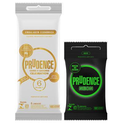 Imagem 1 do produto Kit Preservativo Prudence Neon 3 Unidades + Celebration 6 Unidades