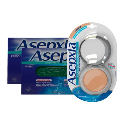 Kit Asepxia 2 Sabonetes Fórmula Forte 90g + Maquiagem Creme Antiacne Natural 10g