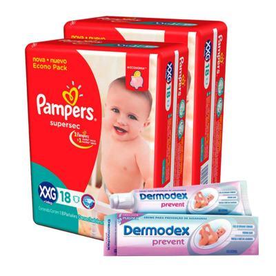 Imagem 1 do produto Kit Pampers Fralda Descartável Supersec XXG 36 Unidades + Dermodex Prevent 30g