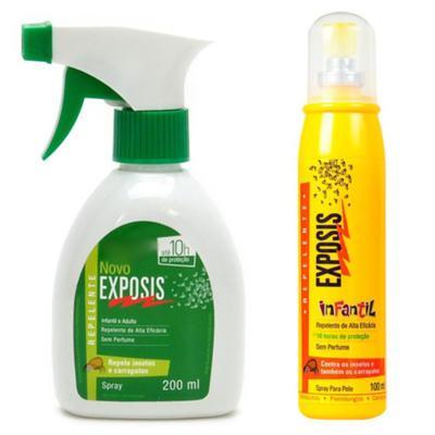 Repelente Exposis Spray 200ml + Repelente Exposis Spray Infantil 100ml