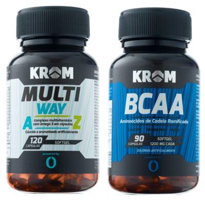 Multi Way Krom 120 Cápsulas + Suplemento BCAA Krom 90 Cápsulas
