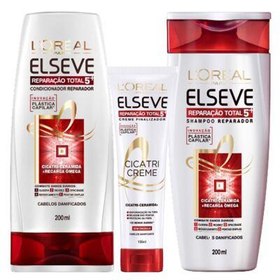 Imagem 1 do produto Kit Cicatri-Creme + Shampoo + Condicionador L'Oréal Paris Elseve Reparação Total 5+ - Kit