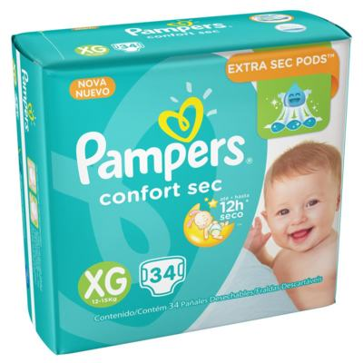 Fralda Pampers Confort Sec XG 34 unidades