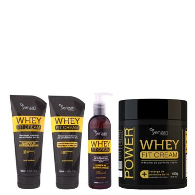 Imagem 1 do produto Kit Shampoo + Condicionador + Máscara Yenzah Power Whey Fit Cream - Kit