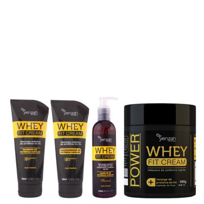 Imagem 1 do produto Kit Shampoo + Condicionador + Máscara Yenzah Power Whey Fit Cream - Kit