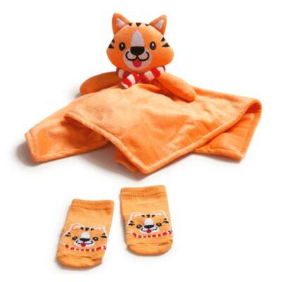 Imagem 1 do produto Kit Naninha para bebê + Meias Tigrinho - Puket - PK6994-TI Kit Naninha + Meia Tigre-3-6