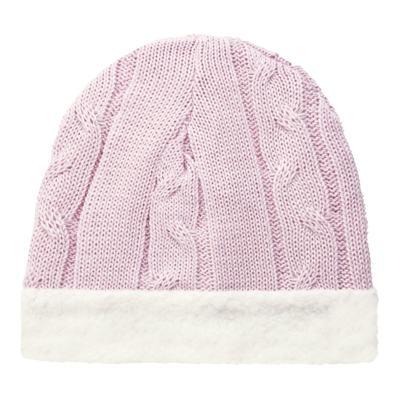 Imagem 1 do produto Gorro para bebê em pelúcia & tricot trançado Rosa - Mini Sailor - 46134264 GORRO FORRADO TRICOT/MAL ROSA BEBE-0-3