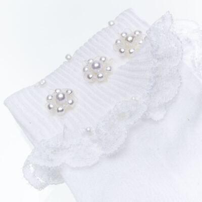 Imagem 2 do produto Meia para bebê Flor & Pérolas Branca - Roana