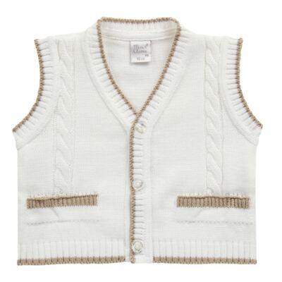 Imagem 3 do produto Macacão longo c/ Colete & Gravata para bebe em tricot Benjamim - Mini & Classic - 3069659 MACACAO FALSO COLETE TRICOT BRANCO-RN