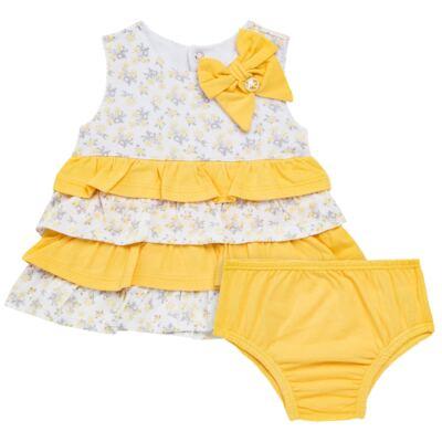 Imagem 1 do produto Vestido com Calcinha para bebe em malha Daisy - Mini & Classic - 1416657 VESTIDO C/BABADOS MALHA FLORAL AMARELO-GG