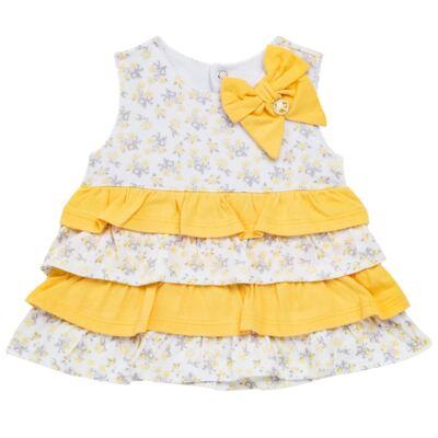 Imagem 2 do produto Vestido com Calcinha para bebe em malha Daisy - Mini & Classic - 1416657 VESTIDO C/BABADOS MALHA FLORAL AMARELO-GG