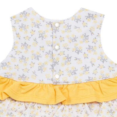 Imagem 4 do produto Vestido com Calcinha para bebe em malha Daisy - Mini & Classic - 1416657 VESTIDO C/BABADOS MALHA FLORAL AMARELO-GG