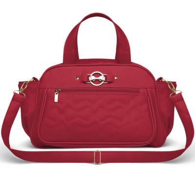 Imagem 4 do produto Mala Maternidade para bebe + Bolsa Liverpool + Frasqueira Térmica Melrose + Trocador Portátil Laços Matelassê Cereja - Classic for Baby Bags