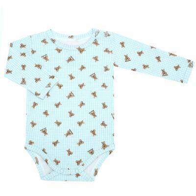 Imagem 1 do produto Body longo para bebe em algodão egípcio c/ jato de cerâmica e filtro solar fps 50 Teddy Sam - Mini & Kids - BS980 BODY LONGO SUEDINE URSINHO-RN