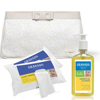 Necessaire Laço Marfim + 2 Lenços Umedecidos + Sabonete Líquido Bebê Tradicional - Classic For Baby Bags & Granado