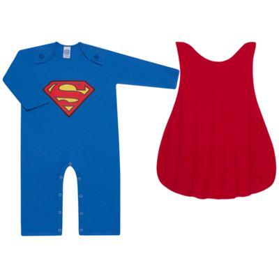 Fantasia Superman: Macacão longo com Capa em malha Stica Stica - Get Baby - 211063 MACACAO TODDLER LONGO M/L-2