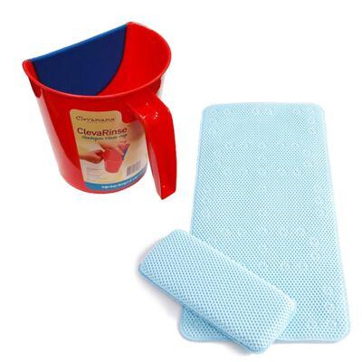 Enxaguante de shampoo ClevaRinse Vermelho e Tapete antiderrapante para banho e suporte para joelhos ClevaBath - Clevamama