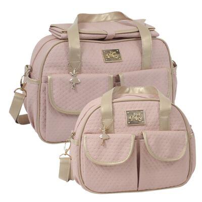 Imagem 1 do produto Bolsa maternidade para bebe + Frasqueira Térmica Nice Rosê - Just Baby