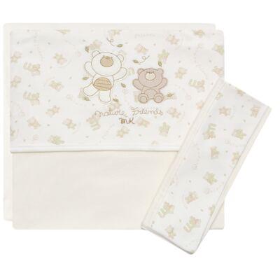 Jogo de lençol para berço em malha Nature Cute Bear - Classic for Baby - JLM547 JOGO DE LENCOL MALHA NATURE