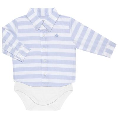Body Camisa para bebe em tricoline Blue Stripes - Baby Classic - 0921445 CAMISA BODY TRICOLINE CLÁSSICO-M