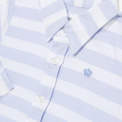 Imagem 2 do produto Body Camisa para bebe em tricoline Blue Stripes - Baby Classic - 0921445 CAMISA BODY TRICOLINE CLÁSSICO-M