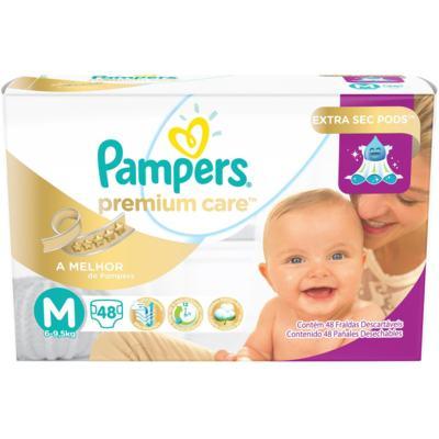 Fralda Descartável Pampers Premium Care M 48 Unidades