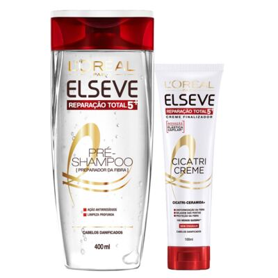 Imagem 1 do produto Kit Pré-Shampoo + Cicatri-Creme L'Oréal Paris Elseve Reparação Total 5+ - Kit