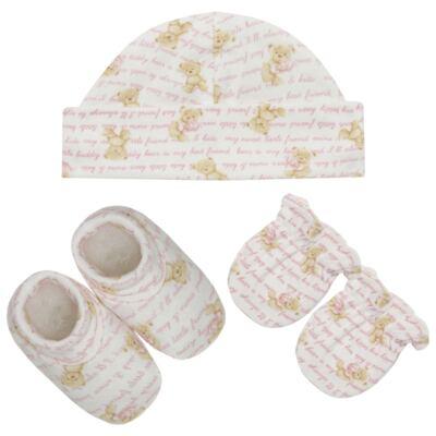 Kit c/ Touca, Luva e Sapatinho em algodão egípcio c/ jato de cerâmica e filtro solar fps 50 Maternity Pink Bear - Mini & Kids
