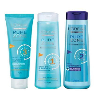 Kit Adstringente Anti-Cravos + Hidratante Facial + Limpador Facial L'Oréal Paris Pure Zone - Kit