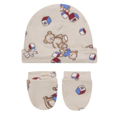 Kit Touca + Par de Luvas para bebe em suedine Baby Toys - Roana