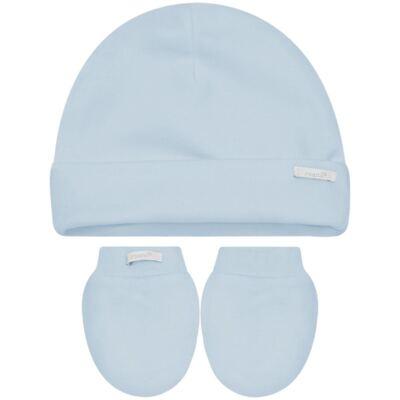 Imagem 1 do produto Kit Touca e Luva para bebê em malha Azul - Roana