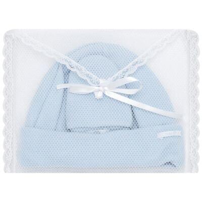 Imagem 4 do produto Kit Touca e Luva para bebê em malha Azul - Roana