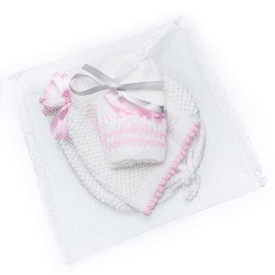 Imagem 4 do produto Kit: Gorro e Luva em tricot Branco/Rosa - Roana